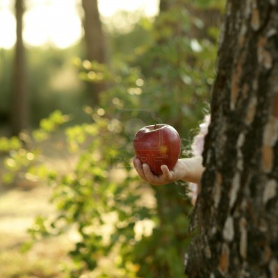4400388-fantasy-girl-holding-a-red-apple-in-the-forest-robbin-hood-metaphor