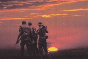 soldiers in sunset