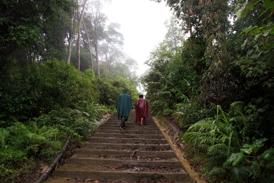 Stairs at foot of hill