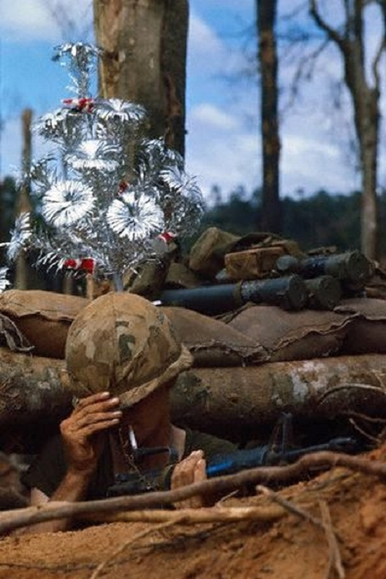 US Soldier in Bunker with Fake Christmas Tree