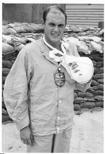 . The late WO1 J.B. Hill after being wounded in the hand on a Dust Off mission in March 1970. (Photo courtesy of the author.)